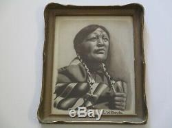 Antique Native American Indian Painting Art Deco Era Pie Crust Frame Portrait