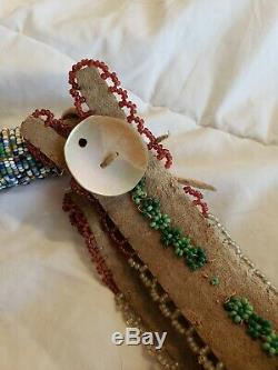 Antique Native American Indian Salt Pepper Beaded Horse Quirt Brain tanned hide