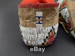 Antique Native American Indian Sioux Lakota Beaded Moccasins Sinew Parflech