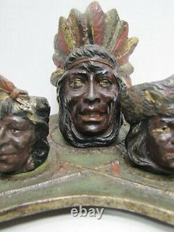 Antique Native American Indian Smoking Set Cast Iron Tomahawk Tray Cigar Store