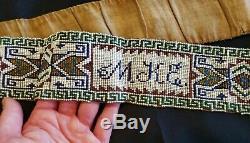 Antique Native American Indian beaded Belt Sash BEAUTIFUL BEADED INITIALS M K E