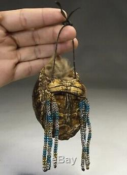 Antique Native American Iroquois Indian Beaded Medicine Bag Fetish Beadwork