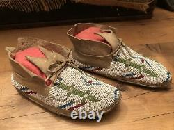 Antique Native American Plains Indian Beaded Childs Moccasins