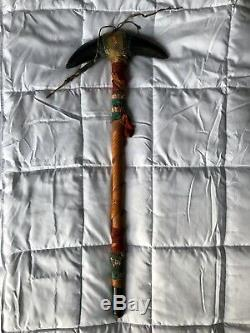 Antique Native American Plains Indian Ghost Dance Stick With Buffalo Horns