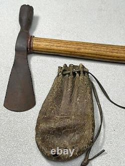 Antique Native American Plains Indian Tomahawk Axe Pipe And Tobacco Bag Old