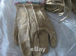 Antique Native American Plateau Plains Fully Beaded Hide Gauntlet Gloves 1900's