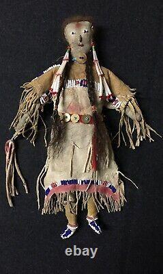 Antique Native American Sinew Sewn Beaded Doll Cheyenne 1870-1880
