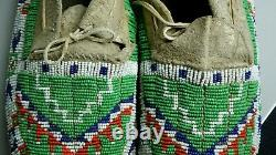 Antique Native American Sioux Lakota Beaded Mocassins -1890 ca