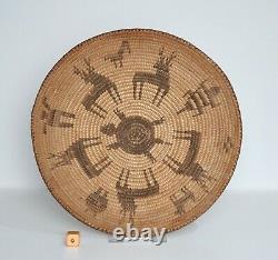 Antique Native American Southwest Pima Basket with Figures