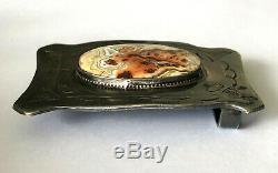 Antique Native American Sterling Silver Navajo Agate Belt Buckle Patina