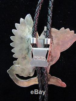 Antique Native American Sterling Silver Zuni Sheyka Owl Bolo TIe