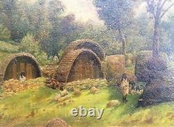 Antique Native American Woodland Village Oil Painting on Board circa 1800's