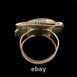 Antique Native Navajo Pawn Sterling Silver Cripple Creek Turquoise Ring Size 5