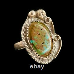 Antique Native Navajo Pawn Sterling Silver Cripple Creek Turquoise Ring Sz 4.25