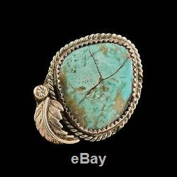 Antique Native Navajo Pawn Sterling Silver Cripple Creek Turquoise Ring Sz 7.5