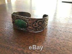 Antique Navajo Bracelet Fred Harvey Era Hand Carved 1930s Snakes Arrows Eagle
