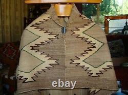 Antique Navajo Child Blanket Native American Weaving, Rug, Green Outline