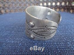 Antique Navajo Coin Silver Bracelet Early Old Pawn Wide Cuff Exceptional
