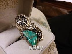 Antique Navajo Huge Carico Lake Turquoise Sterling Silver Ring Size 6.5