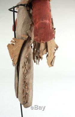 Antique Navajo Indian Handmade Man /Woman Cloth Faced Doll Buck Skin w Rug Skirt