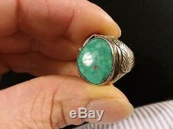 Antique Navajo Mens Waterweb Kingman Turquoise Sterling Silver Ring Size 10.25