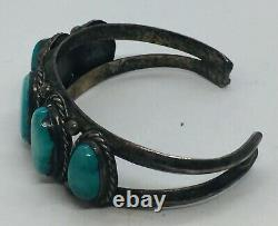 Antique Navajo Native American Sterling Silver Blue Turquoise Row Cuff Bracelet