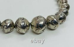 Antique Navajo Native American Sterling Silver Ornate Graduated Bead Necklace