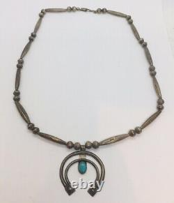 Antique Navajo Native American Sterling Silver Turquoise Squash Blossom Necklace