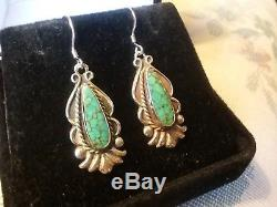 Antique Navajo Number Eight 8 Turquoise Sterling Silver Earrings