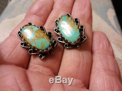 Antique Navajo Royston Turquoise Sterling Silver Earrings