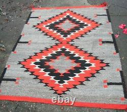 Antique Navajo Rug Blanket Native American Indian Serape Weaving 60x50 1900