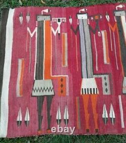 Antique Navajo Rug Blanket Native American Indian Yei Tapestry Bayetta