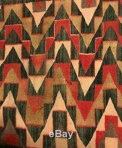 Antique Navajo Rug Blanket Red Mesa Native American Teec Nos Pos Indian Weaving