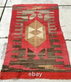 Antique Navajo Rug Blanket Serape Native American Late Classic Weaving 1860