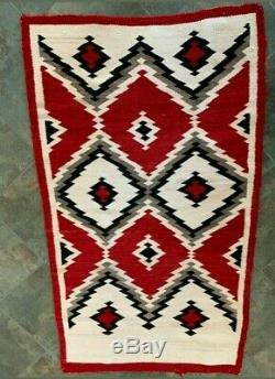 Antique Navajo Rug Crystal Weaving Native American Indian JB Moore Textile 1900