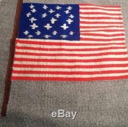 Antique Navajo Rug Native American Flag Indian Blanket Tapestry Weaving Textile