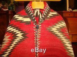 Antique Navajo Rug Red Mesa Large Native American Weaving Blanket