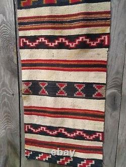 Antique Navajo Rug Saddle Blanket Native American Indian Weaving Textile 1910