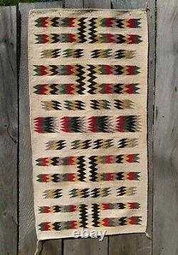 Antique Navajo Rug Saddle Blanket Native American Indian Weaving Textile 1920