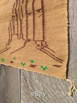 Antique Navajo Rug Yei Blanket Native American Indian Shiprock Tapestry Weaving