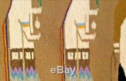 Antique Navajo Rug Yei Blanket Native American Indian Yeibechai Tapestry Weaving