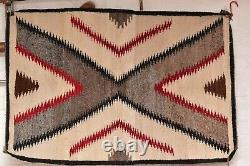 Antique Navajo Rug native american indian weaving Textile LARGE 49x33 Vintage