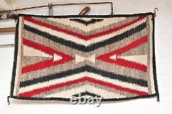 Antique Navajo Rug native american indian weaving Textile LARGE 65x39 Vintage