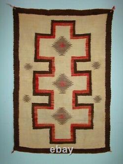 Antique Navajo Rug or Double Saddle Blanket Cross design Native American Weaving