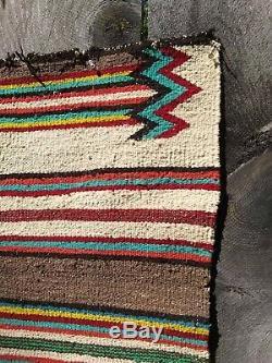 Antique Navajo Saddle Blanket Rug Hopi Native American Indian Weaving 1900 52x28