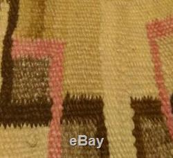 Antique Navajo Saddle Blanket Rug Hopi Zuni Native American Indian Weaving 1870