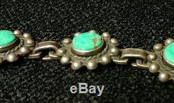 Antique Navajo Sterling Silver Turquoise Necklace Hand Made Large Inlay VTG Rare