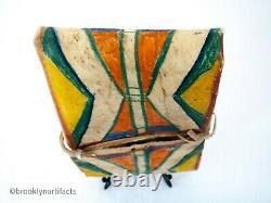 Antique Nez Perce Indian Polychrome Hide Painted Parleche Case Native American