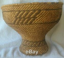 Antique Northern California Hupa Pedestal Basket Native American Indian