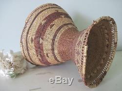 Antique Northern California Indian Pedestal Basket Karok Hupa Yurok